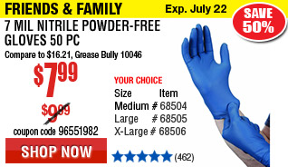 7 mil Nitrile Powder-Free Gloves 50 Pc