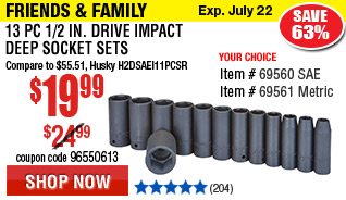 13 Pc 1/2 in. Drive Impact Deep Socket Set