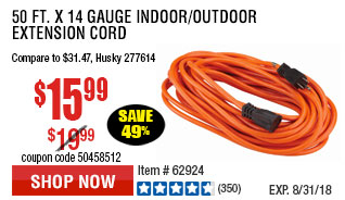 50 ft. x 14 Gauge Indoor/Outdoor Extension Cord