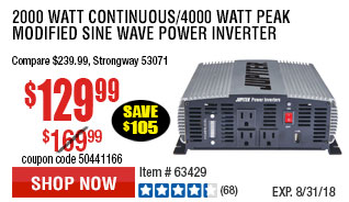 2000 Watt Continuous/4000 Watt Peak Modified Sine Wave Power Inverter
