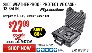2800 Weatherproof Protective Case - 13-3/4 In.