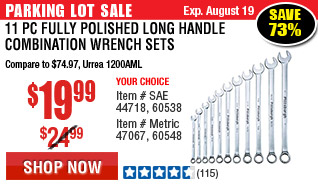 11 Pc Fully Polished SAE Long Handle Combination Wrench Set