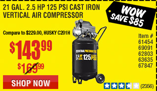 1 gal. 2.5 HP 125 PSI Cast Iron Vertical Air Compressor