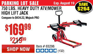 750 lbs. Heavy Duty ATV/Mower High Lift Jack
