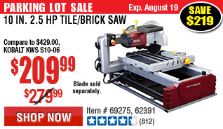 10 in. 2.5 HP Tile/Brick Saw