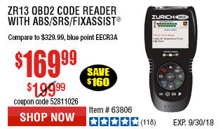 Harbor freight tools quality tools at discount prices since 1977 zr13 obd2 code reader with abssrsfixassist fandeluxe Images