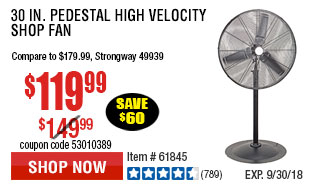 30 in. Pedestal High Velocity Shop Fan
