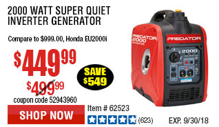 2000 Watt Super Quiet Inverter Generator