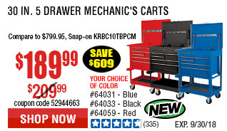 30 in. 5 Drawer Blue Mechanic's Cart