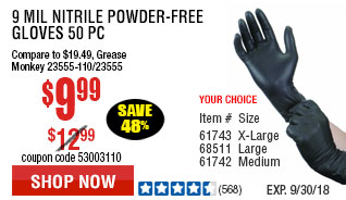 9 mil Nitrile Powder-Free Gloves 50 Pc Large