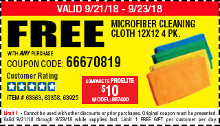 Free Microfiber Cleaning Cloth 12x12 4 Pk.