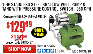1 HP Stainless Steel Shallow Well Pump and Tank with Pressure Control Switch -  950 GPH