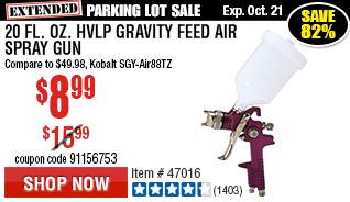 20 fl. oz. HVLP Gravity Feed Air Spray Gun