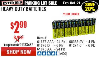 AAA Heavy Duty Batteries 24 Pk
