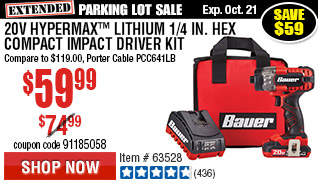 20V Hypermax™ Lithium 1/4 in. Hex Compact Impact Driver Kit