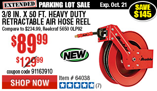 3/8 in. x 50 ft. Heavy Duty Retractable Air Hose Reel