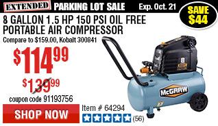 8 gallon 1.5 HP 150 PSI Oil Free Portable Air Compressor