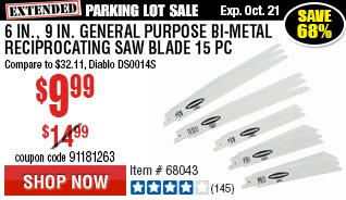 6 in., 9 in. General Purpose Bi-Metal Reciprocating Saw Blade 15 Pc