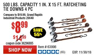 500 lbs. Capacity 1 in. x 15 ft. Ratcheting Tie Downs 4 Pc