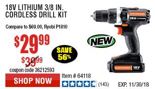 18V Lithium 3/8 in. Cordless Drill Kit