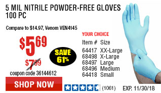 5 mil Nitrile Powder-Free Gloves 100 Pc Medium