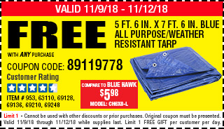 Free 5 ft. 6 in. x 7 ft. 6 in. Blue All Purpose/Weather Resistant Tarp