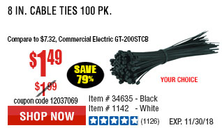 8 in. Black Cable Ties 100 Pk.
