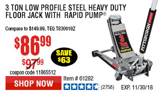 3 ton Low Profile Steel Heavy Duty Floor Jack with  Rapid Pump®