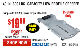40 in. 300 lbs. Capacity Low-Profile Creeper