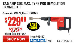 12.5 Amp SDS Max Type Pro Demolition Hammer Kit