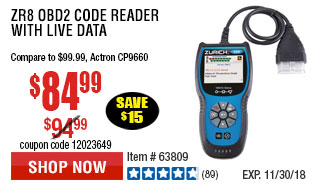 ZR8 OBD2 Code Reader with Live Data