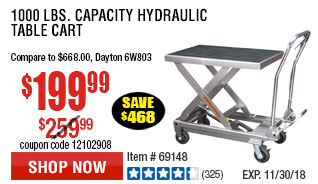 1000 lbs. Capacity Hydraulic Table Cart