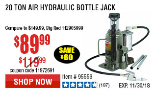 20 ton Air Hydraulic Bottle Jack