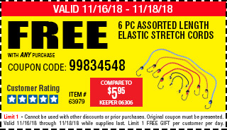 Free 6 Pc Assorted Length Elastic Stretch Cords