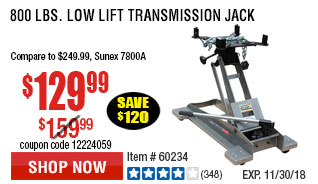 800 lbs. Low Lift Transmission Jack