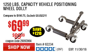 1250 lbs. Capacity Vehicle Positioning Wheel Dolly