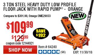 3 ton Steel Heavy Duty Low Profile Floor Jack with Rapid Pump -  Orange