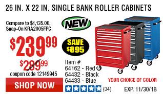 26 in. x 22 In. Single Bank Black Roller Cabinet