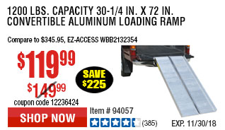 1200 lbs. Capacity 30-1/4 in. x 72 in. Convertible Aluminum Loading Ramp