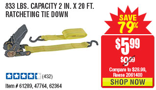 833 lbs. Capacity 2 in. x 20 ft. Ratcheting Tie Down