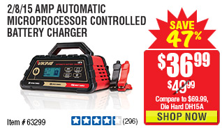 2/8/15 Amp Automatic Microprocessor Controlled Battery Charger