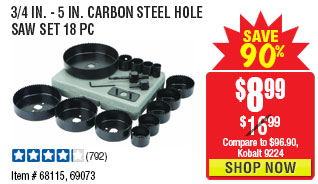 3/4 In - 5 In Carbon Steel Hole Saw Set 18 Pc