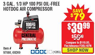 3 gal. 1/3 HP 100 PSI Oil-Free Hotdog Air Compressor