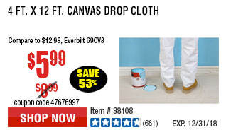 4 Ft. x 12 Ft. Canvas Drop Cloth