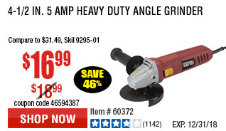 4-1/2 in. 5 Amp Heavy Duty Angle Grinder