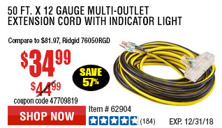 50 ft. x 12 Gauge Multi-Outlet Extension Cord with Indicator Light