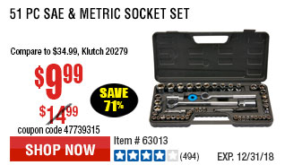 51 Pc SAE & Metric Socket Set