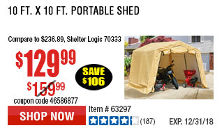 10 ft. x 10 ft. Portable Shed