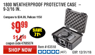 1800 Weatherproof Protective Case  –  9-3/16 In.