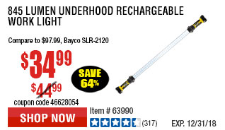 845 Lumen Underhood  Rechargeable Work Light